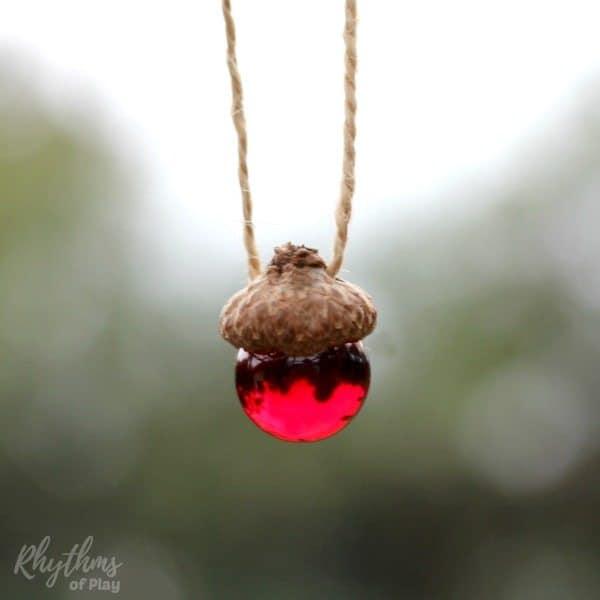 Diy rustic acorn marble ornaments rhythms of play for Acorn necklace craft