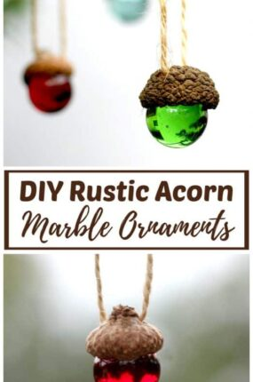 Homemade DIY Christmas ornaments made with marbles and acorn caps