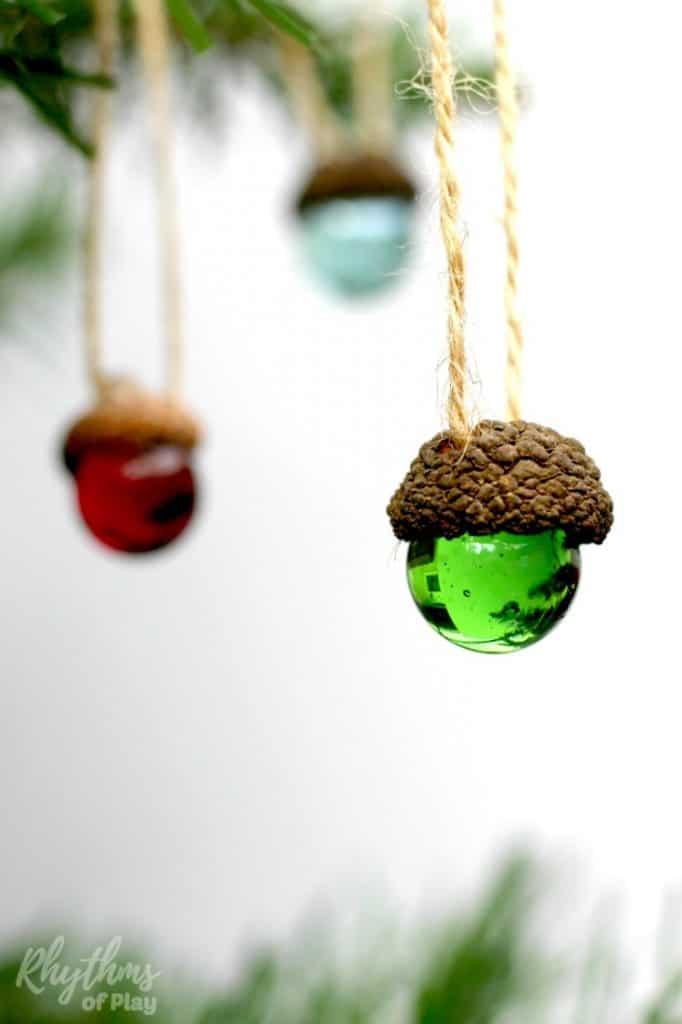 Diy Rustic Acorn Marble Ornaments Rhythms Of Play