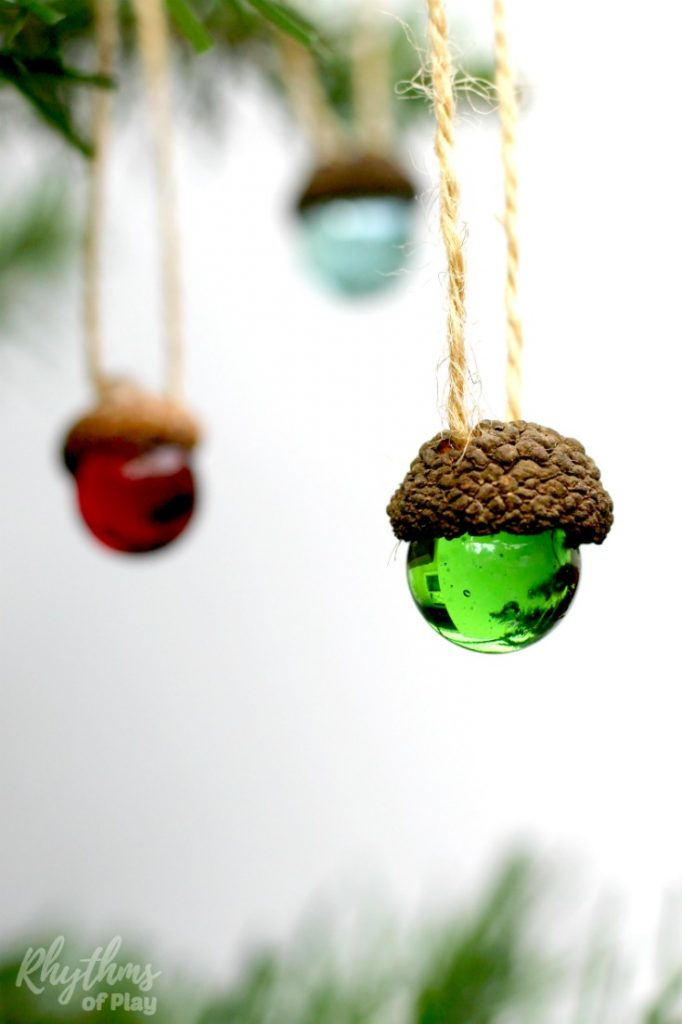 These homemade DIY rustic acorn marble ornaments