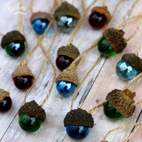 DIY Rustic Acorn Marble Ornaments | 50 Awesome DIY Yule Decorations and Craft Ideas You Can Make for the Winter Solstice