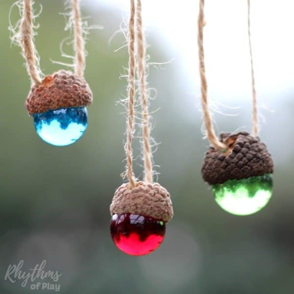 Rustic DIY Christmas Ornaments - acorn marble