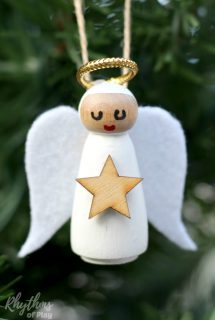 DIY Wooden Peg Doll Angel Ornament