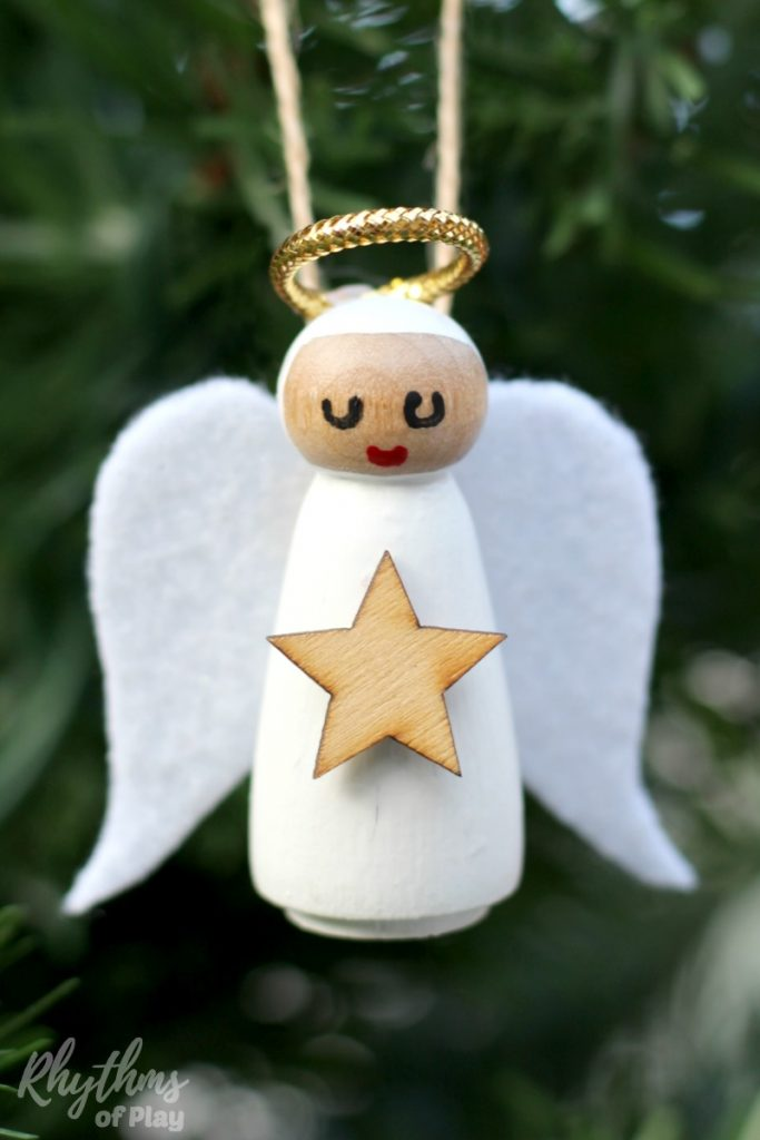 diy wooden peg doll angel ornament - rhythms of play
