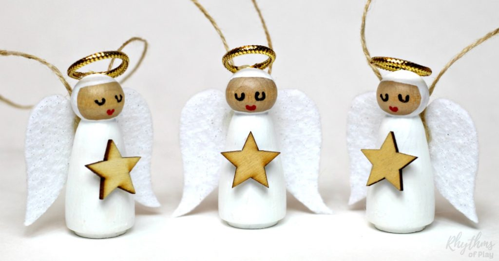 diy wooden peg doll angel ornament rhythms of play