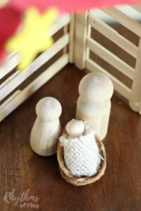 Learn how to make this beautiful easy DIY wooden peg doll holy family nativity scene to display as home decor this season. A simple Christmas craft idea for both kids and adults that will add a touch of magic to your holiday decorations.