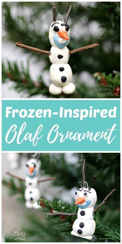 A homemade DIY Olaf ornament is an easy Christmas craft for kids inspired by Disney's Frozen. Handmade ornaments like this polymer clay Olaf ornament are perfect for the Christmas tree. They make beautiful holiday decorations and a unique kid-made gift idea!