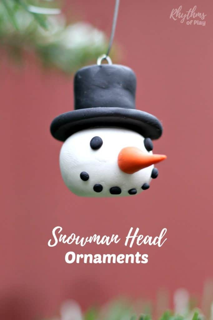 DIY Polymer Clay Snowman Head Ornaments