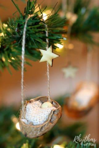 Walnut Shell Manger Christmas Ornament