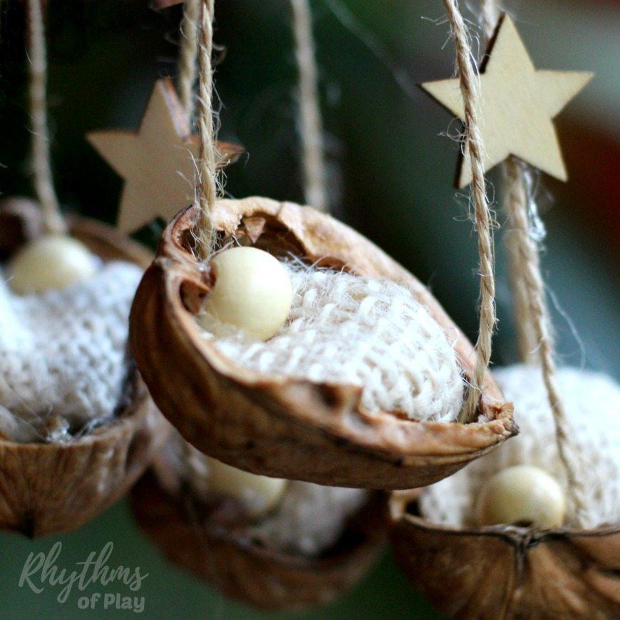 Rustic Walnut Shell Manger Christmas Ornament Rhythms Of