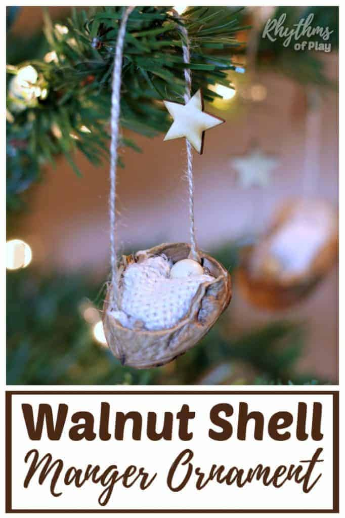This DIY rustic homemade walnut shell manger Christmas ornament can be made by kids, teens, and adults. Handmade ornaments like this kid-made baby Jesus in the manger are perfect for the Christmas tree. You can also use this walnut nature craft as a part of a nativity scene. They make beautiful decorations and are a great keepsake gift idea!