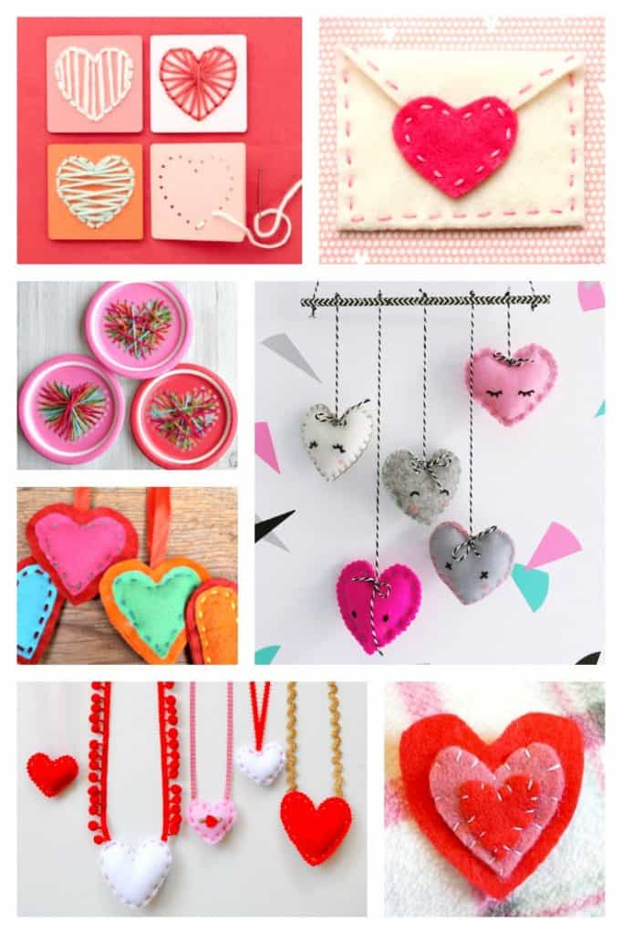 These easy heart sewing projects for beginners are great for teaching kids how to hand sew. Children can learn how to sew using any one of these simple DIY sewing tutorials. Any of these homemade craft ideas would make a great gift idea for Valentine's Day and are perfect for year round sewing practice. These handmade hearts would also be perfect for Mother's Day! #sew #valentinesday #heart #sewing #sewingprojects #valentinesdaygiftideas ##valentinesgift #kidsactivities