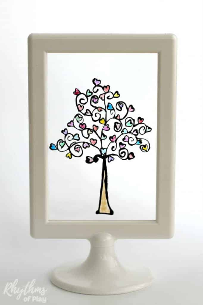 DIY Glass Paint Heart Tree Pin3