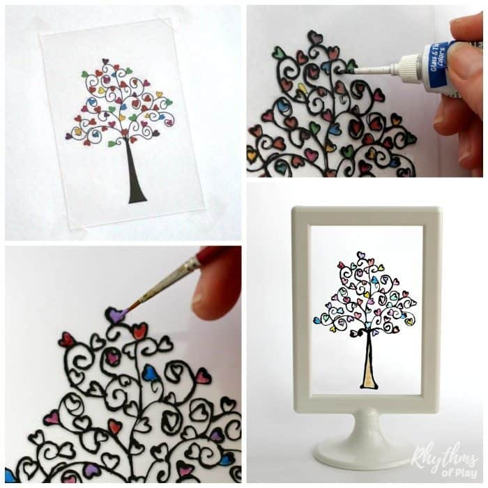 How to paint a glass paint heart tree