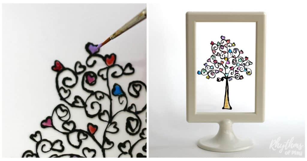 Easy DIY Glass Paint Heart Tree - Rhythms of Play