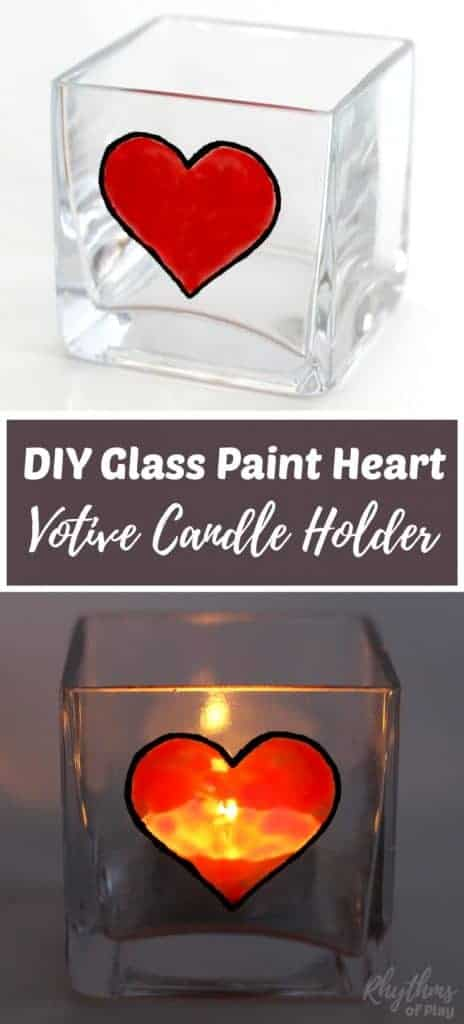 an unlit candle holder with a heart and a lit candle holder with a heart painted on it