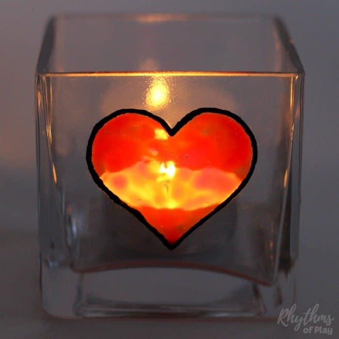 single heart candle holder lit