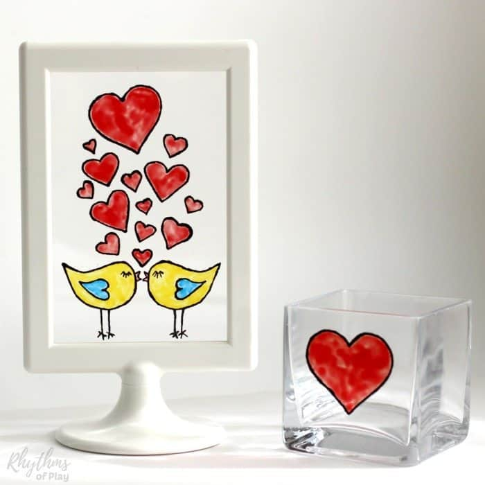 love birds craft and heart candle holder