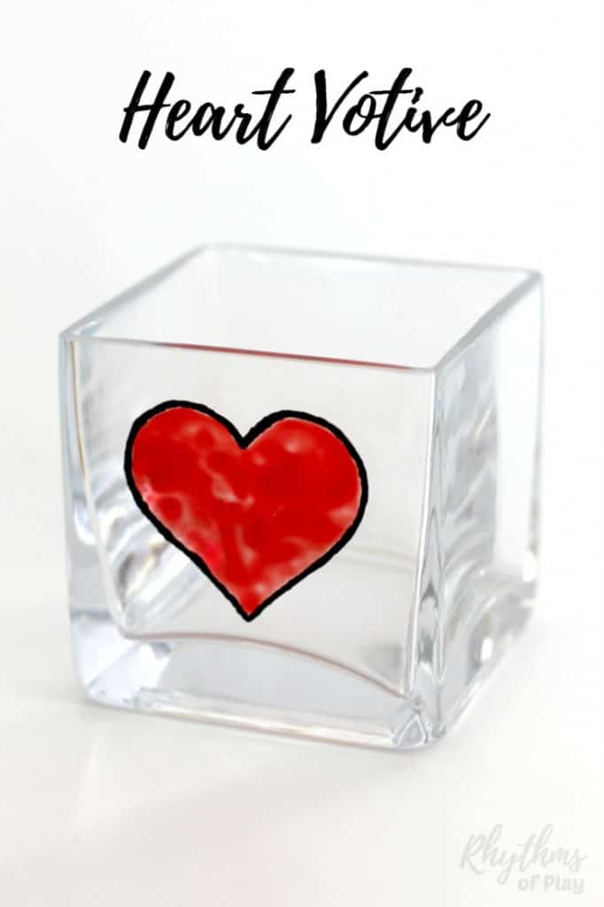 Creating gorgeous stained glass heart decorations on votive candle holders is easy. Anyone that can draw or trace can do this easy art project. This DIY glass paint heart votive candle holder would make a centerpiece or gift idea for Valentine's Day, Mother's day, Father's Day and anniversaries.