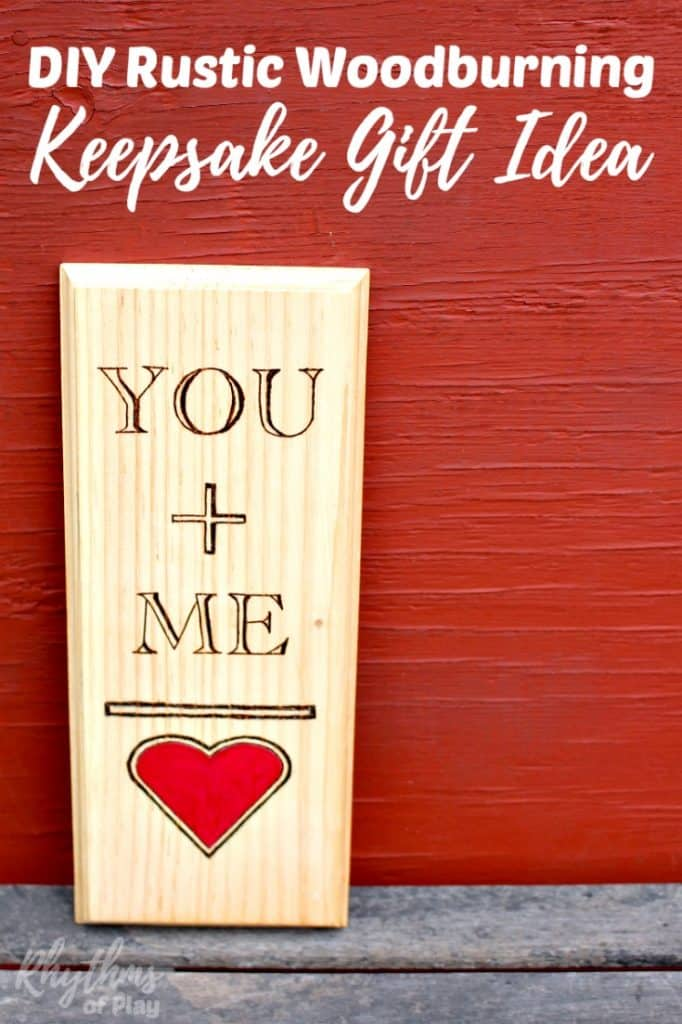 This DIY rustic woodburning keepsake gift idea is a fun and easy project for Valentine's Day, weddings, and anniversaries. It is the perfect gift for the five-year wedding anniversary which is traditionally made of wood. It is super simple to make even if you have never tried using a wood burning pen before. You can use the free printable template on any piece of wood. Click through for the easy to follow tutorial!