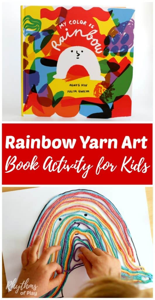 How to make Rainbow Yarn Art, a Book Activity for Kids