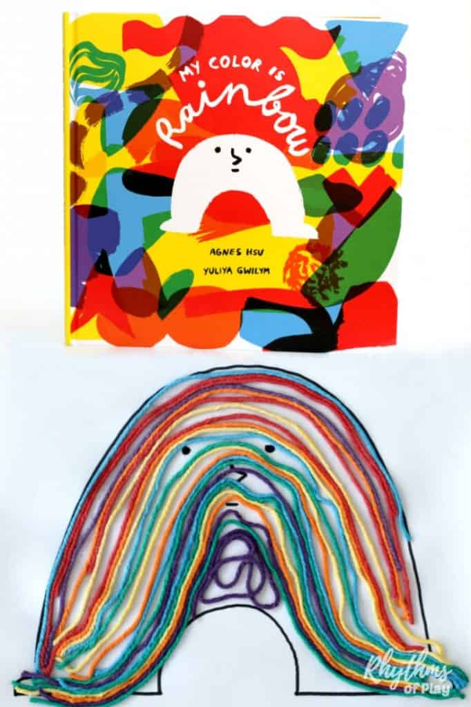 Rainbow Yarn Art Book Activity for Kids