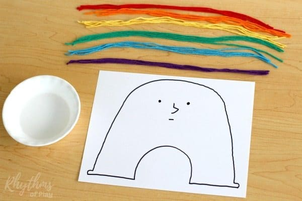 Rainbow Yarn Art Book Activity for Kids set up