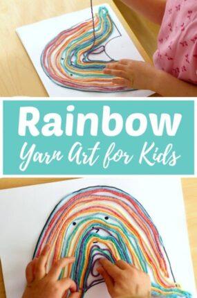 rainbow yarn art for kids