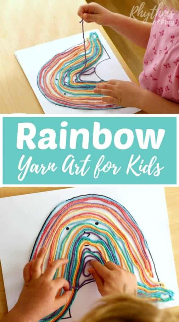 rainbow yarn art for kids
