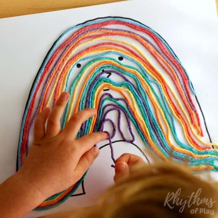 Rainbow yarn art book activity for kids process sq3