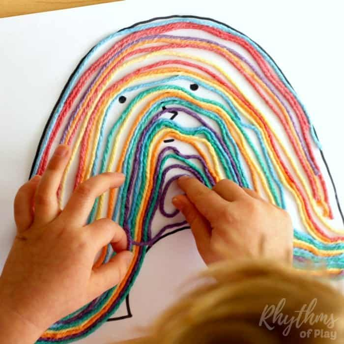 Rainbow yarn art book activity for kids process sq4