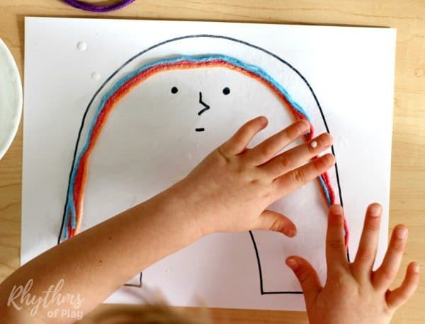 Rainbow yarn art book activity for kids process2