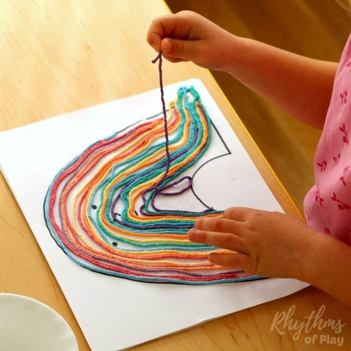 Rainbow yarn art book activity process sq2