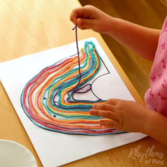 Rainbow yarn art book activity process sq2