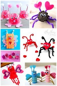 VALENTINES LOVE BUG CRAFTS FOR KIDS! Fun and easy Craft ideas for preschoolers, elementary kids, and teens. Click through to learn lots of ways to make a love bug. You can make them out of natural and recycled materials and items easily found at the dollar store. These little cuties make a great kid-made gift idea for Valentine's Day!
