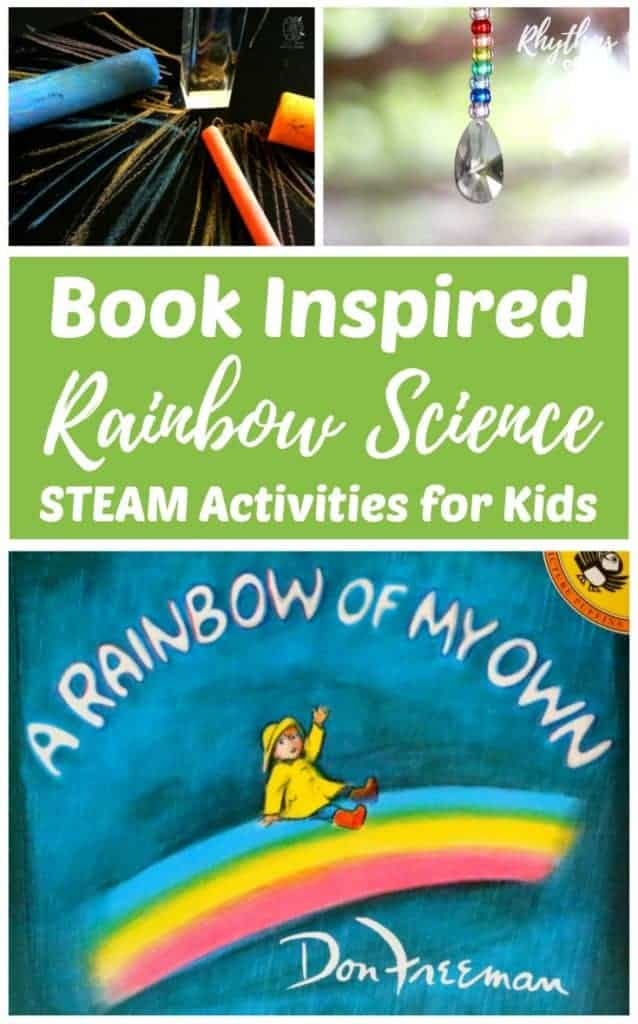 "Book inspired rainbow science STEAM activities for kids make learning about rainbows and how they form fun! These STEAM homeschool activities are inspired by the book, ""A Rainbow of My Own."" Learn about the science of natural rainbows and how to make your own using a light source and a prism, or a CD. Increase understanding by creating art and crafts that contain elements of math, engineering, and or technology. Easy ideas and resources included!"