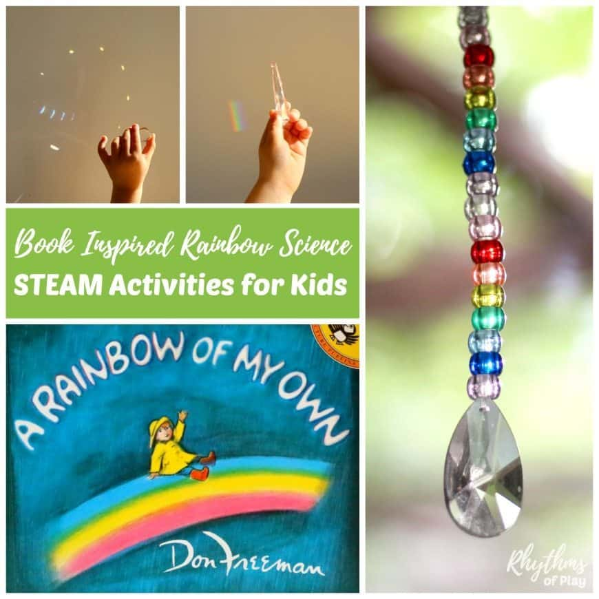 """Book inspired rainbow science STEAM activities for kids make learning about rainbows and how they form fun! These STEAM homeschool activities are inspired by the book, """"A Rainbow of My Own."""" Learn about the science of natural rainbows and how to make your own using a light source and a prism, or a CD. Increase understanding by creating art and crafts that contain elements of math, engineering, and or technology. Easy ideas and resources included!"""