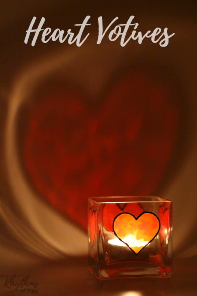 Heart votive candle holder casting heart shadow on the wall