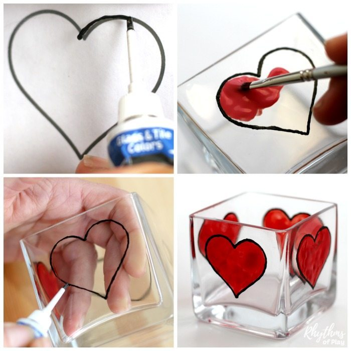 How to paint a heart on a candle holder