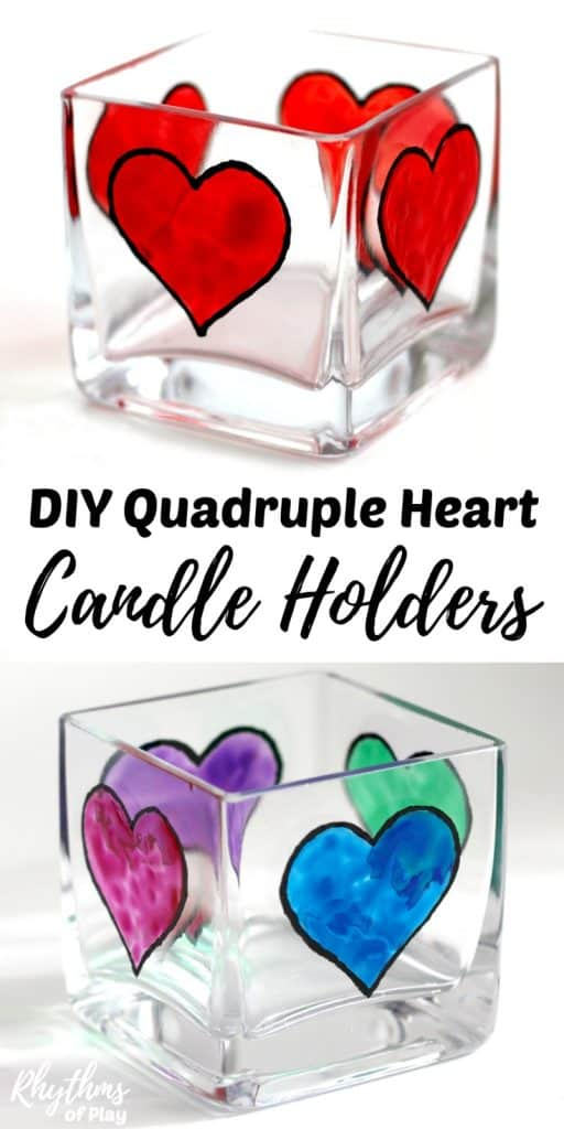 faux-stained glass hearts on square candle holder