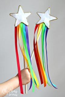 DIY Rainbow Ribbon Fairy Wands for Kids