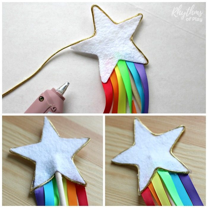 Glue star on rainbow ribbon fairy wands