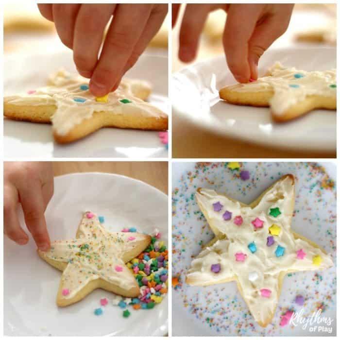 Decorate Rainbow Sprinkle Star Cookies sq