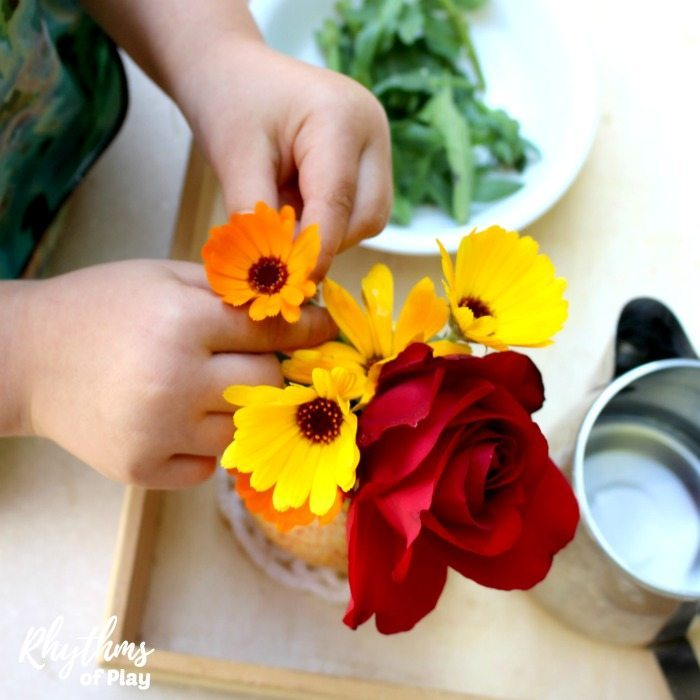 flower arranging Montessori Practical life activity