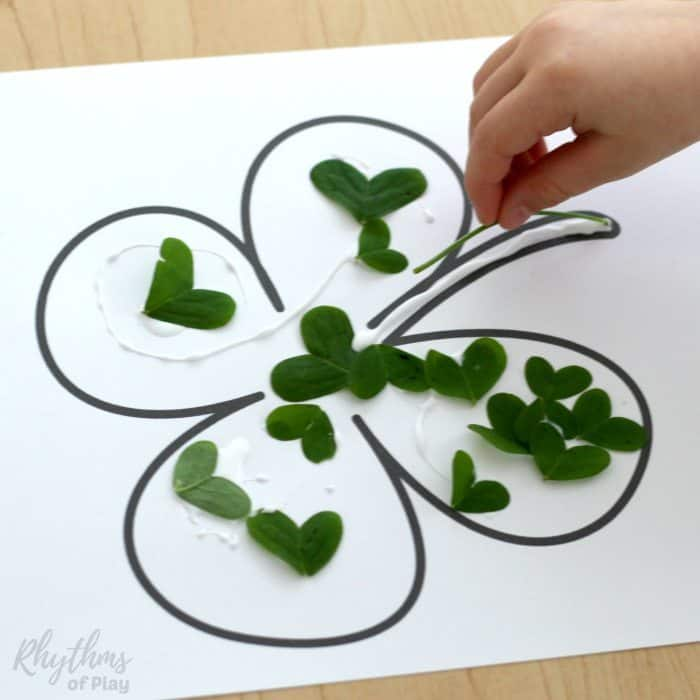 four leaf clover nature collage art