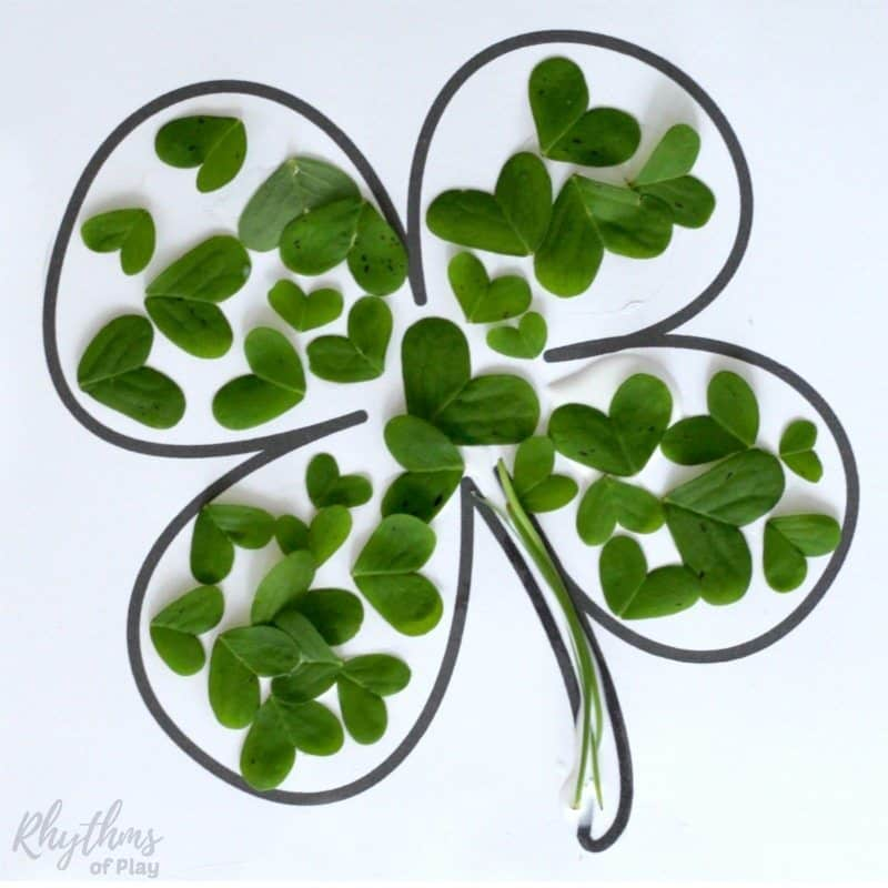 Lucky four-leaf clover nature collage art project and nature craft for kids