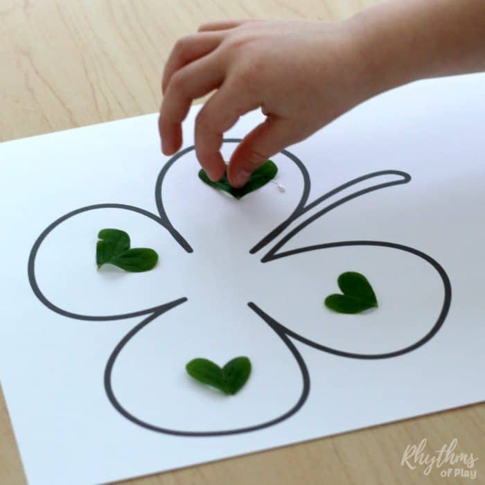 Easy four leaf clover nature art collage