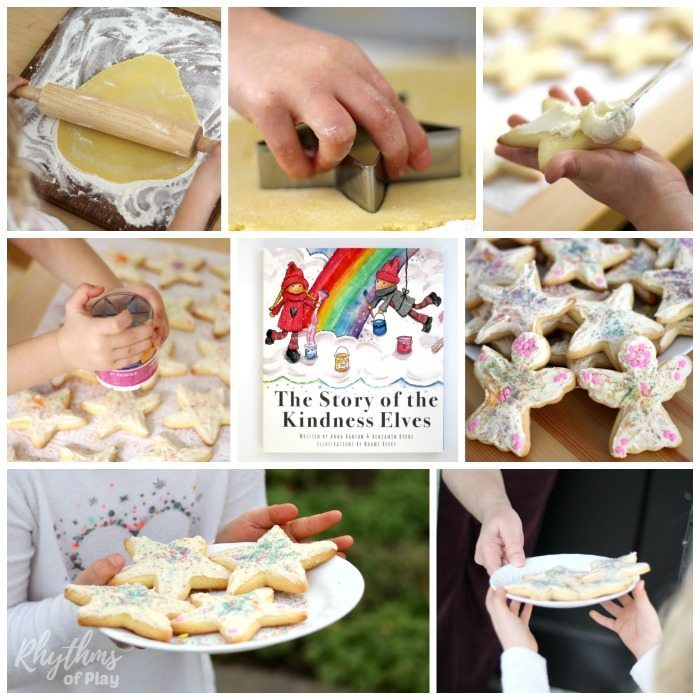 "Cooking with kids is fun! First, use our easy cake mix sugar cookie recipe to make these super soft kindness cookies. Next, make some cream cheese icing. Then decorate with rainbow sprinkles and pass them out as a kindness service project with the kids. My daughter and I were inspired to make these cookies after reading ""The Story of the Kindness Elves."" Try this kids kitchen book activity and kindness project for kids today!"