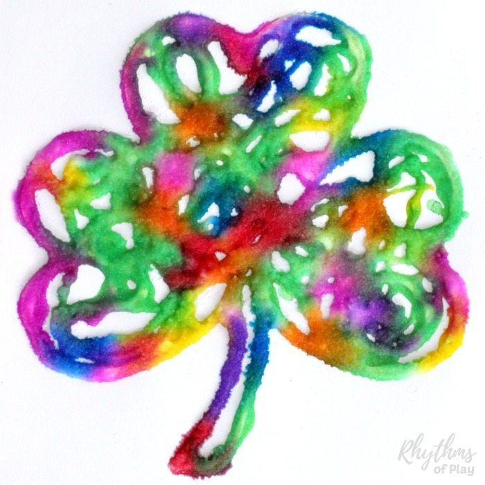 Easy Saint Patrick's Day rainbow shamrock art project for toddlers, preschoolers, and kids of all ages!