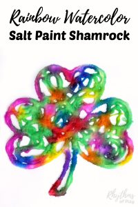 Easy Saint Patrick's Day art craft for kids! Making a rainbow watercolor raised salt paint shamrock is an easy art project for kids. Preschoolers, kindergartners, and elementary kids will enjoy the painting technique used to create this fun St. Patrick's Day craft. Try it today!